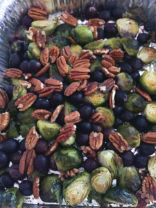 Roasted Brussel Sprouts with Black Grapes and Walnuts